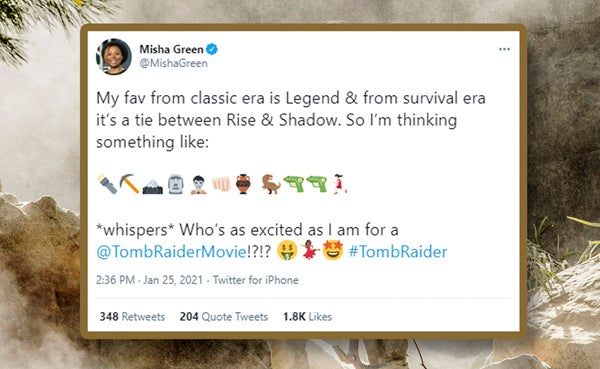 A screenshot of a tweet from Misha Green expressing excitement over the upcoming Tomb Raider movie that she is working on