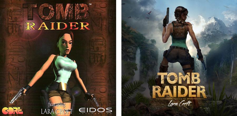 A comparison of the original 1996 Tomb Raider box cover next to Brenoch's reimagined cover