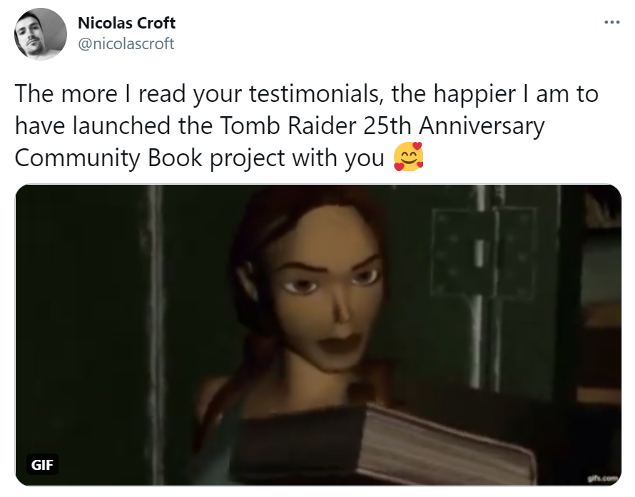 A screenshot of a tweet from Nicolas Croft expressing his happiness from the TR25 Community Book project