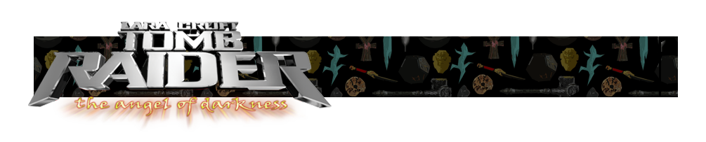 A banner with the Tomb Raider: the angel of darkness logo on the left. There are various artifacts in the background of the banner.