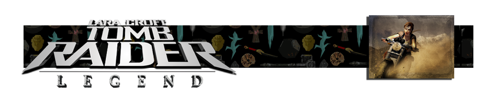 A banner with the Tomb Raider Legend logo on the left. There are various artifacts in the background of the banner. On the right is an image of a motorbike from Tomb Raider Legend.