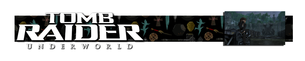 A banner with the Tomb Raider Underworld logo on the left. There are various artifacts in the background of the banner. On the right is an image of a motorcycle from Tomb Raider Underworld.