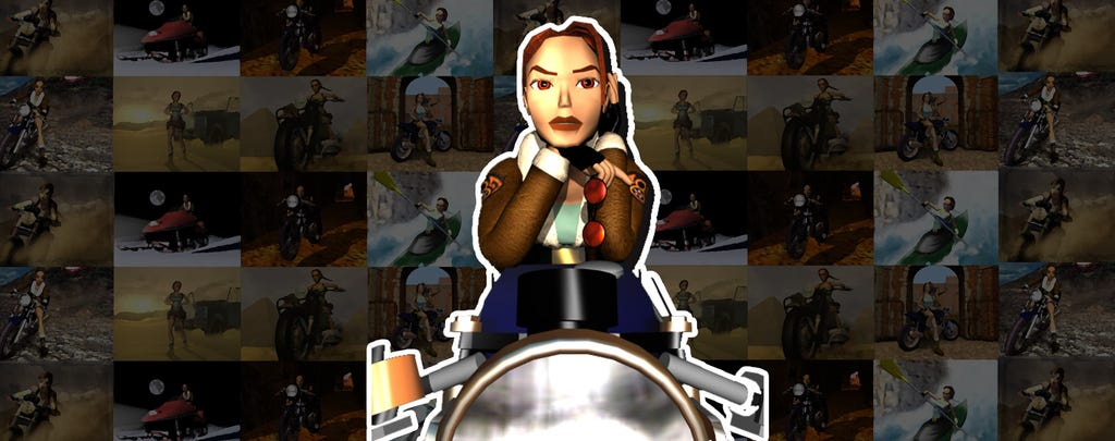 A graphic with a render of Lara Croft on top of a Motorbike, the background is a collage of images of Lara with various vehicles from the franchise
