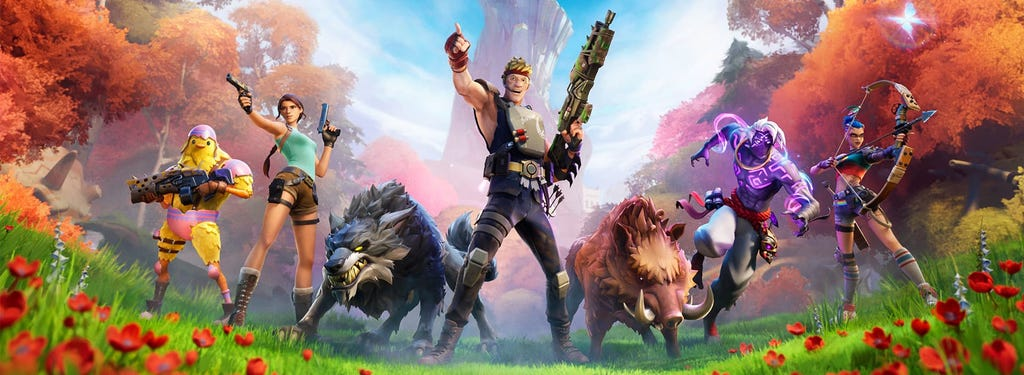 A graphic with several fortnite characters in a battle pose, including Lara Croft