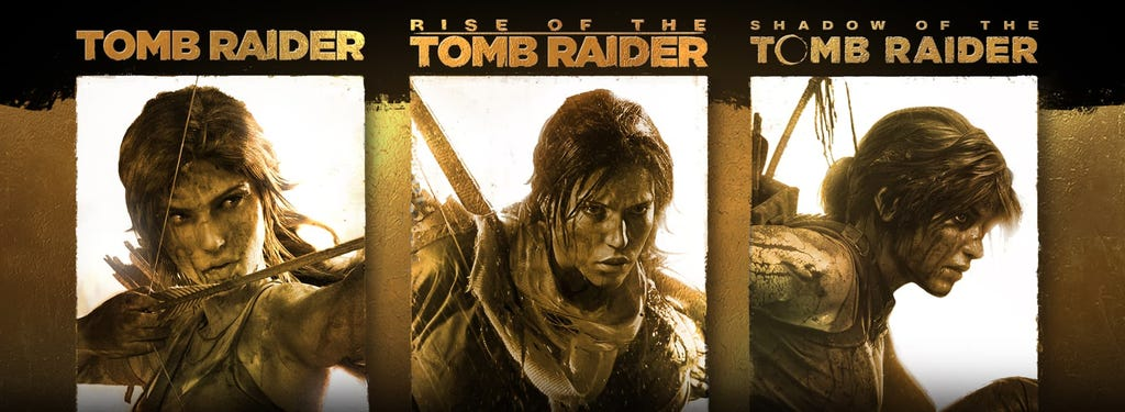 A graphic of the Tomb Raider Definitive Survivor Trilogy bundle cover