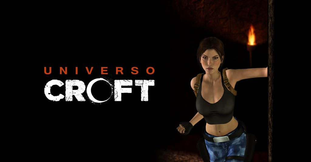A graphic crop of a fan made render of Lara Croft by Universo Croft