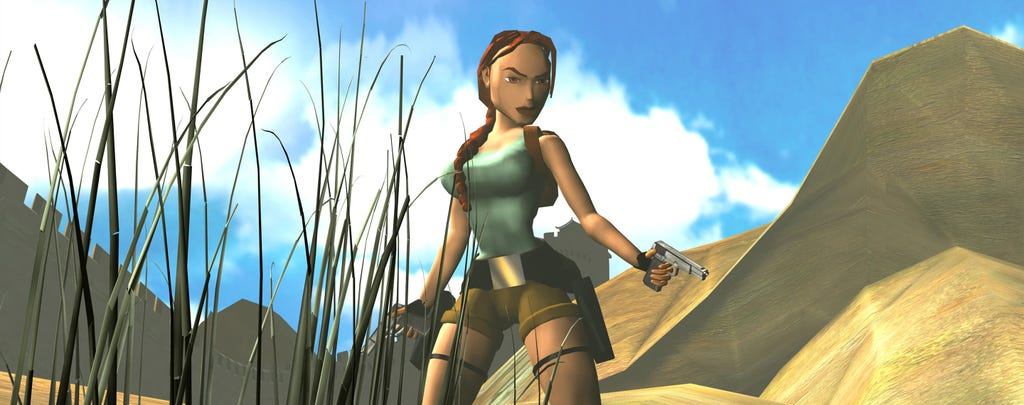 A render from Tomb Raider of Lara Croft in a desert