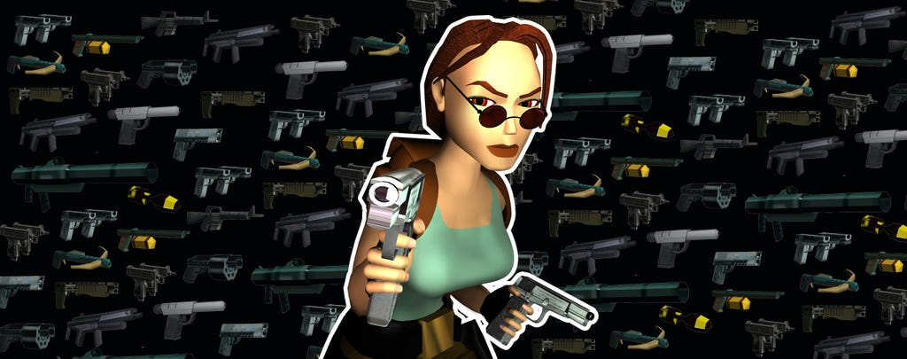 An image featuring a collage of Tomb Raider weapons in the background and Lara Croft aiming her pistol forward in the foreground.