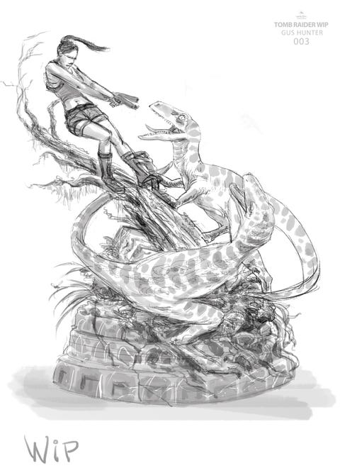 A black and white sketch of Lara croft confronting two raptors Tomb Raider's The Lost Valley.
