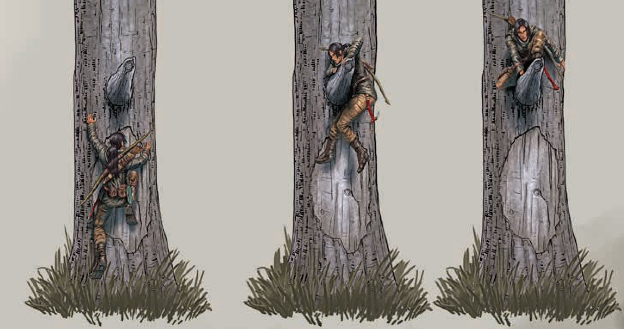 An image of Lara Croft climbing a tree.