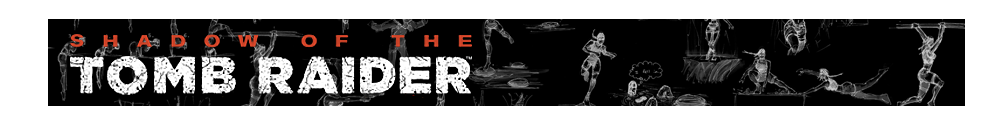 A banner with the Shadow of the Tomb Raider logo and various Renders of Lara Croft poses