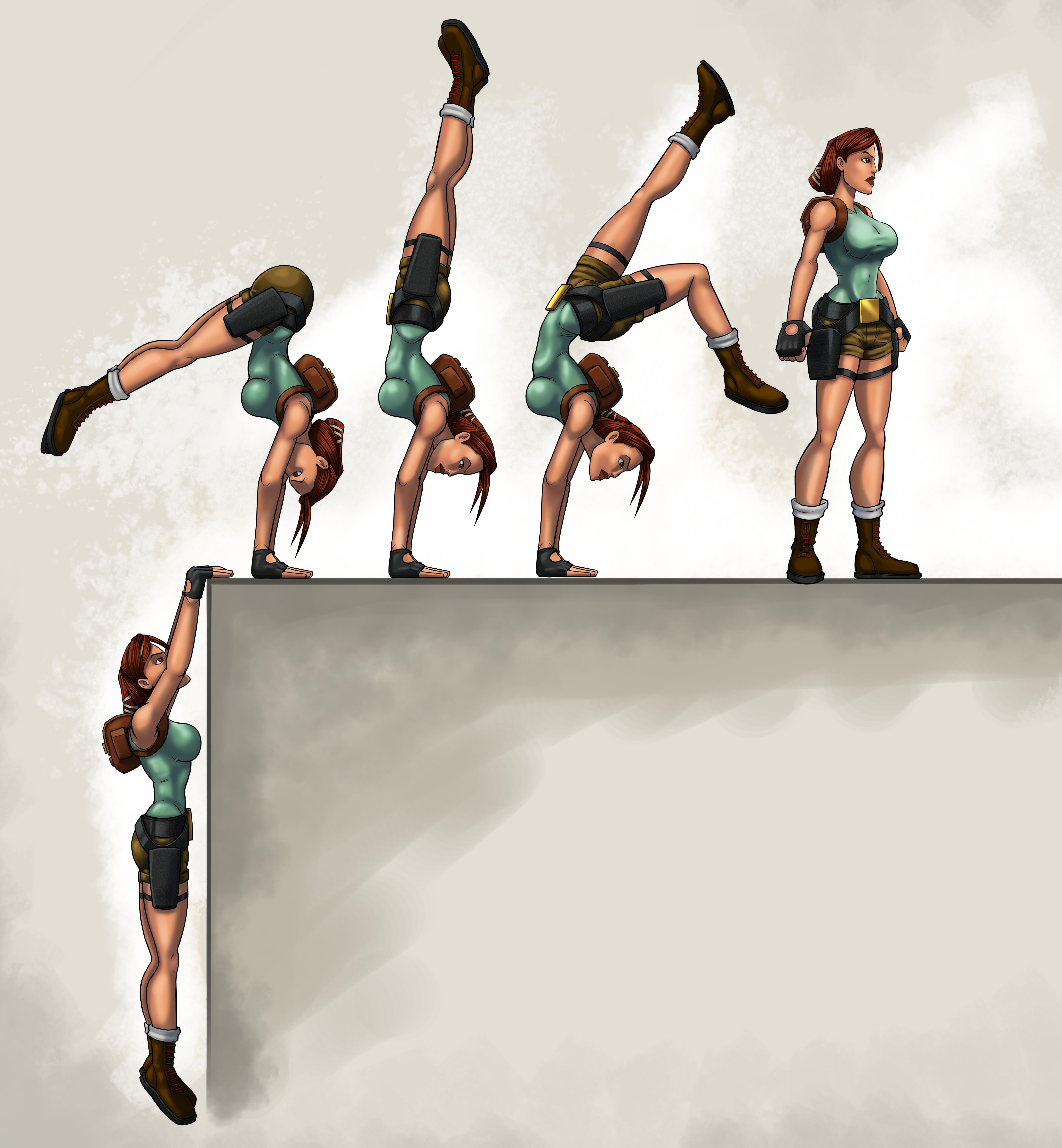 A Graphic with Lara doing the handstand pose