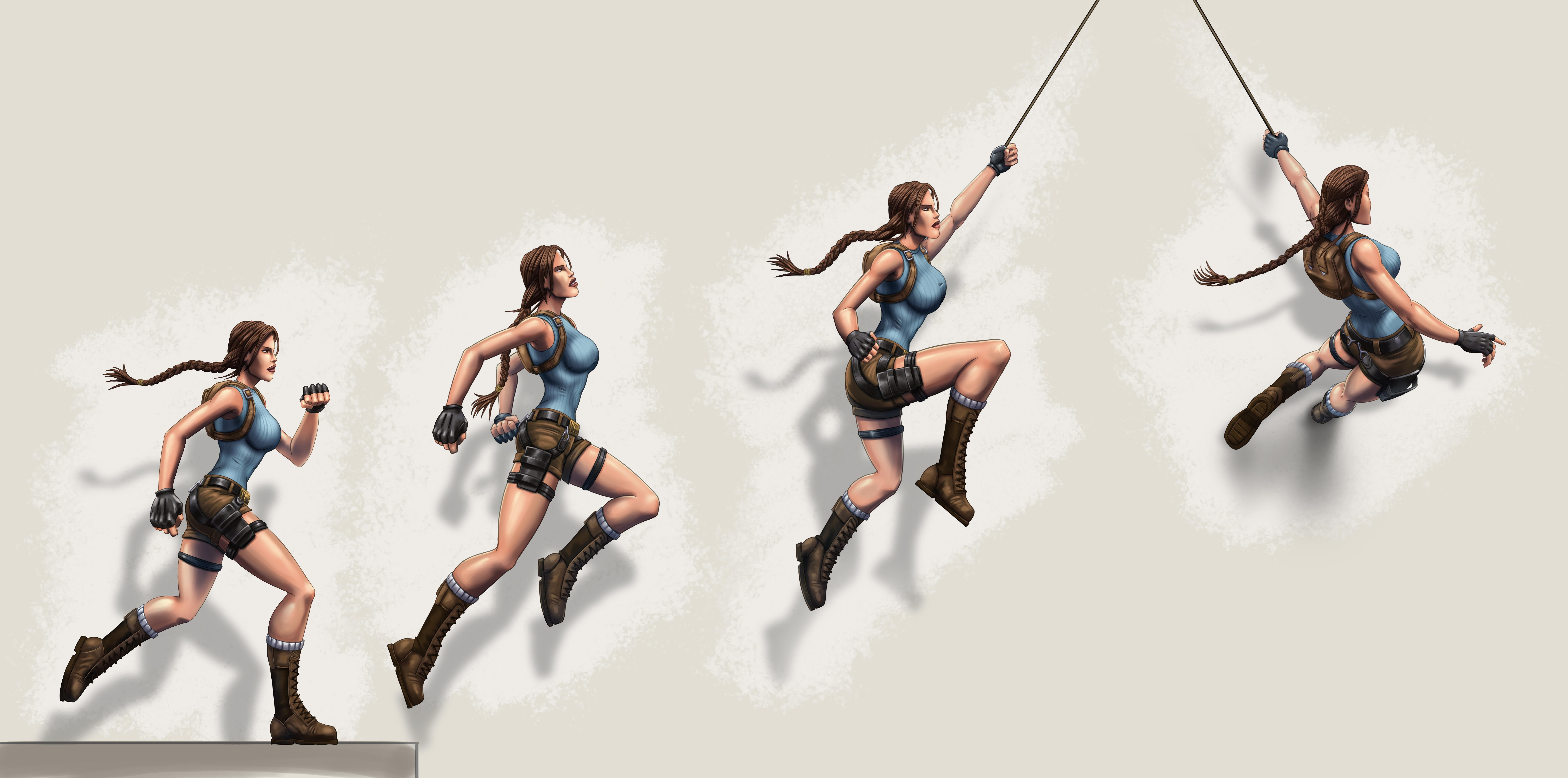 A graphic with Lara doing a run and rope grapple animation
