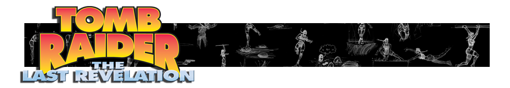 A banner with the Tomb Raider IV logo and various Renders of Lara Croft poses