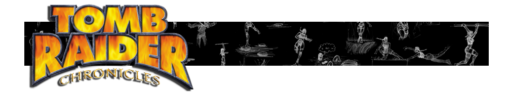 A banner with the Tomb Raider Chronicles logo and various Renders of Lara Croft poses