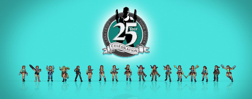 A blue image with a pixelated Tomb Raider 25 logo and Lara Croft figures