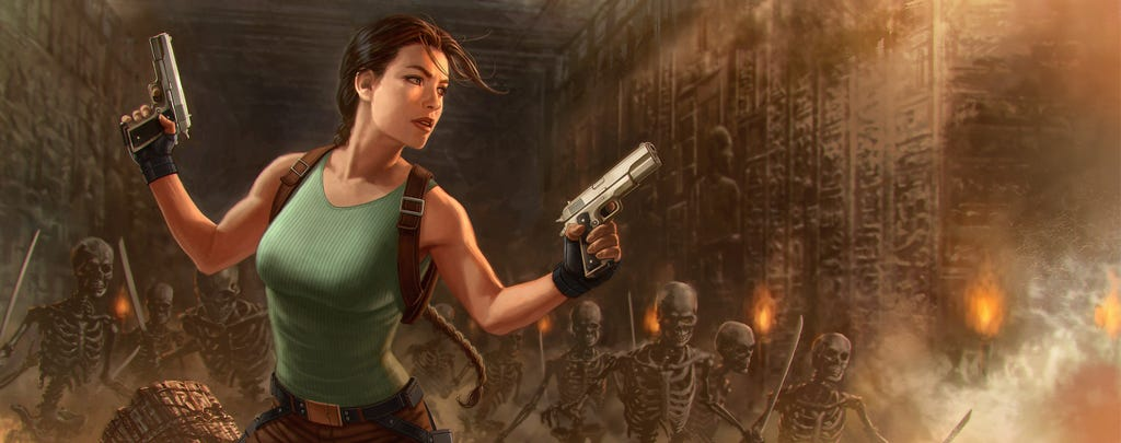A crop of the Tomb Raider IV reimagined box art by Andy Park