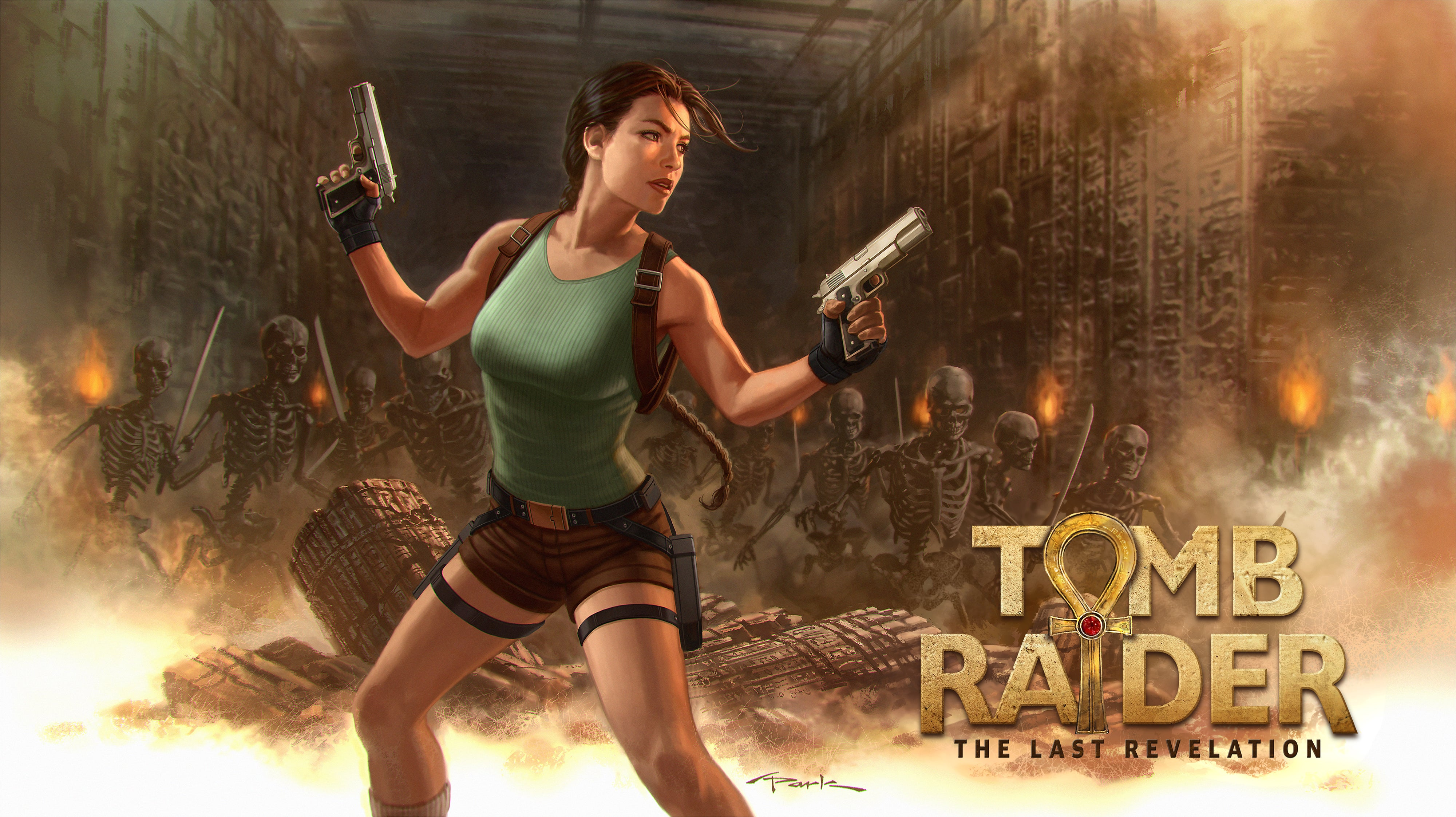 Reimagined Tomb Raider IV box art by Andy Park features Lara holding up two pistols with a horde of skeleton knights behind her in ancient ruins