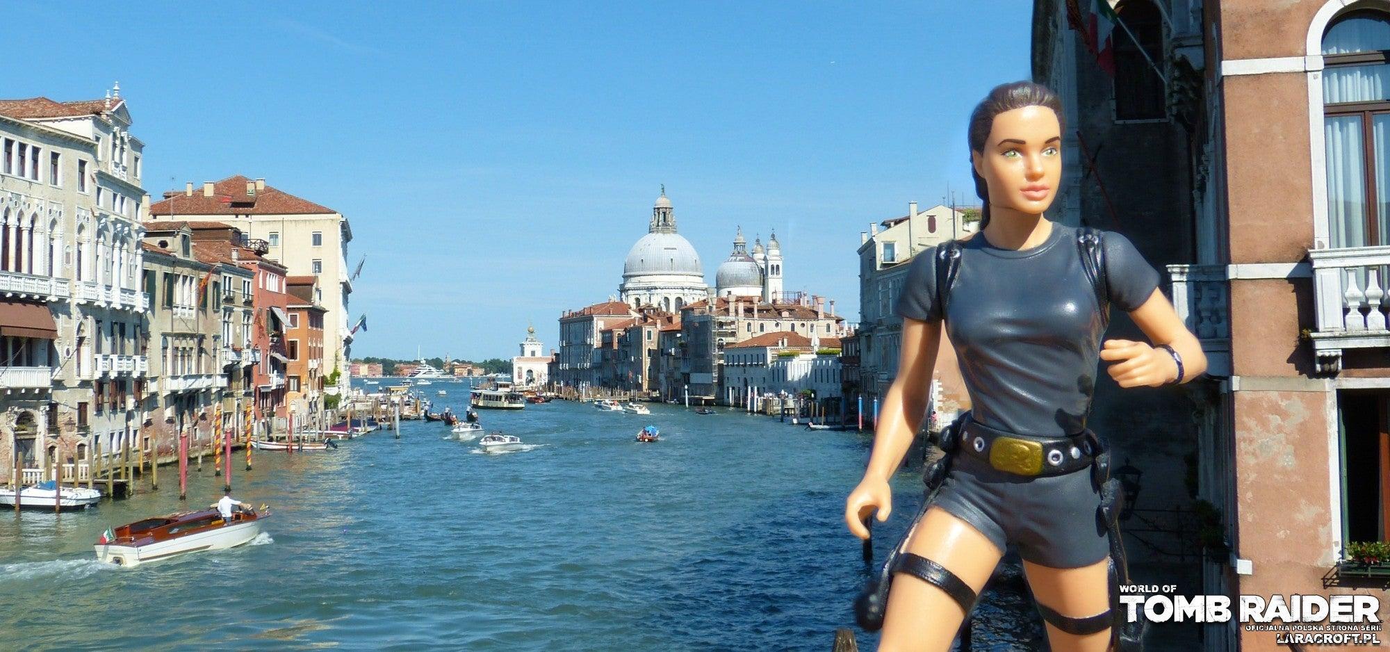 A photograph of an Angelina Jolie Lara Croft figure in Venice