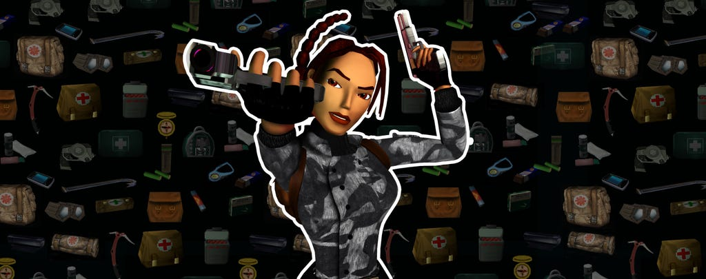 A graphic with a classic Lara croft render in front of a montage of gear