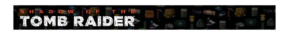 A banner with different gear icons from Tomb Raider games faded in the background. The Shadow of the Tomb Raider logo is on the left.