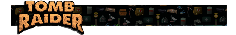 A banner with different gear icons from Tomb Raider games faded in the background. The Tomb Raider logo is on the left.