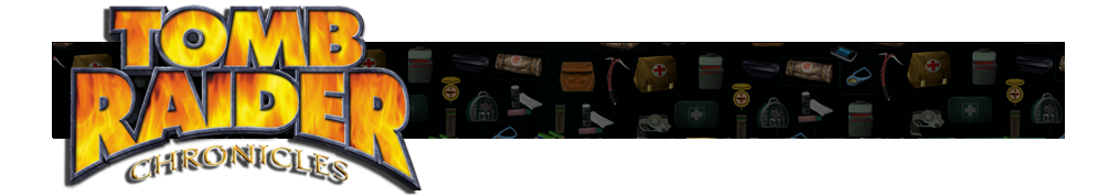 A banner with different gear icons from Tomb Raider games faded in the background. The Tomb Raider Chronicles logo is on the left.