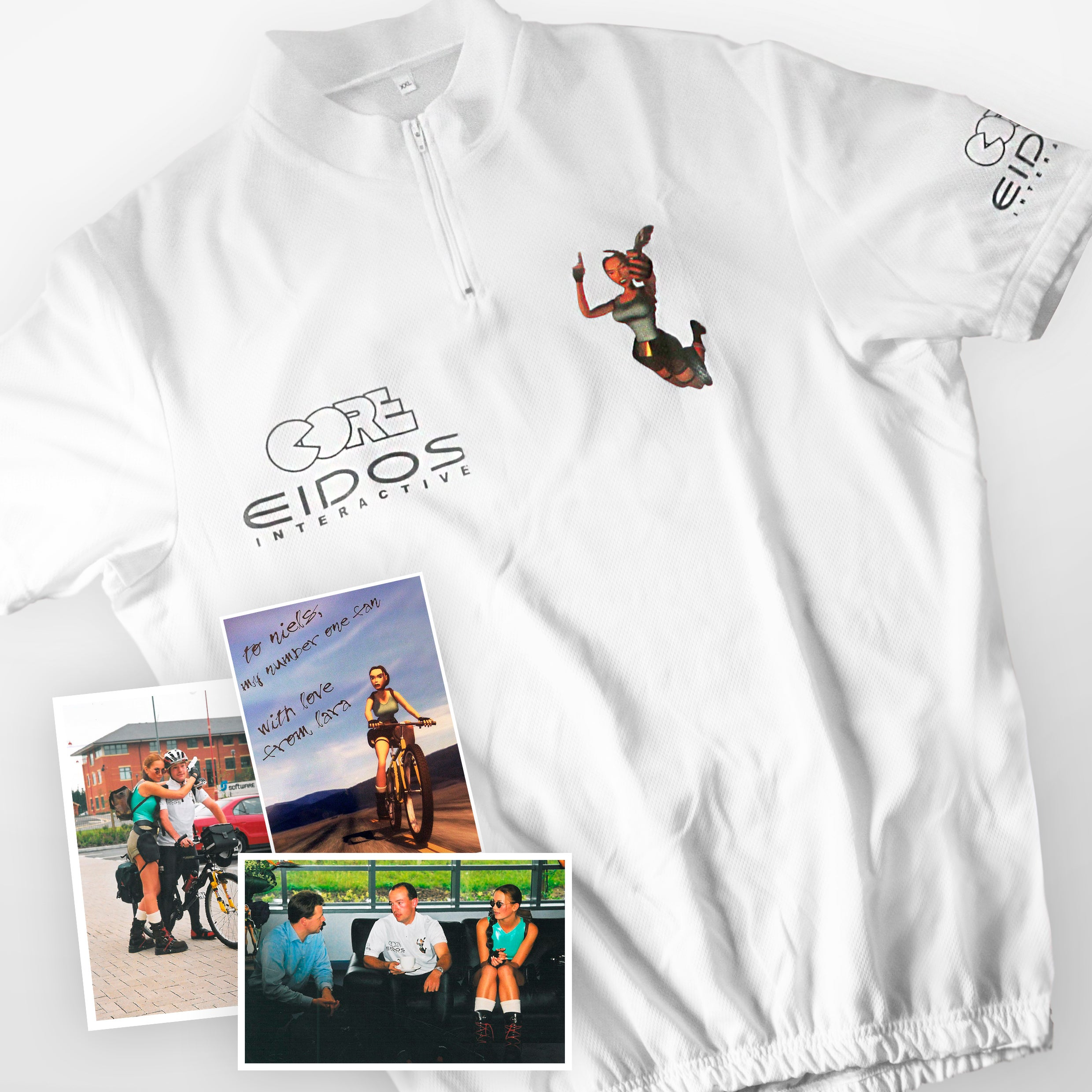 Original Niels Berndsen t-shirt on his feat of cycling the route between the Netherlands and Derby (England). We can see the t-shirt sponsored by the Eidos Interactive and Core Design brands in the photos that accompany these lines.