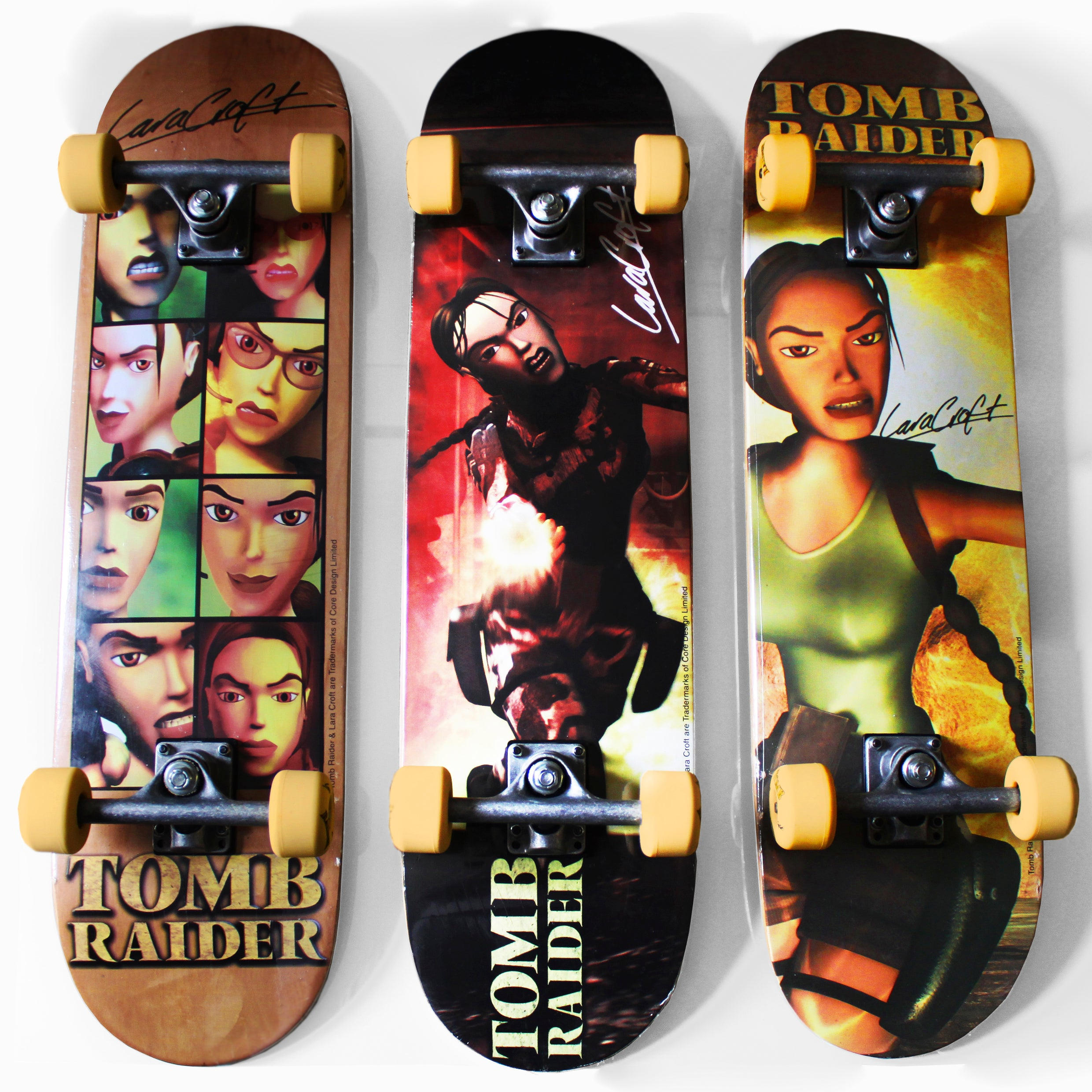 A series of skateboards with different designs of Classic Lara Croft (mainly based on Chronicles and The Last Revelation) with full-color designs on the bottom of the table and wheels personalized with Lara Croft's signature.