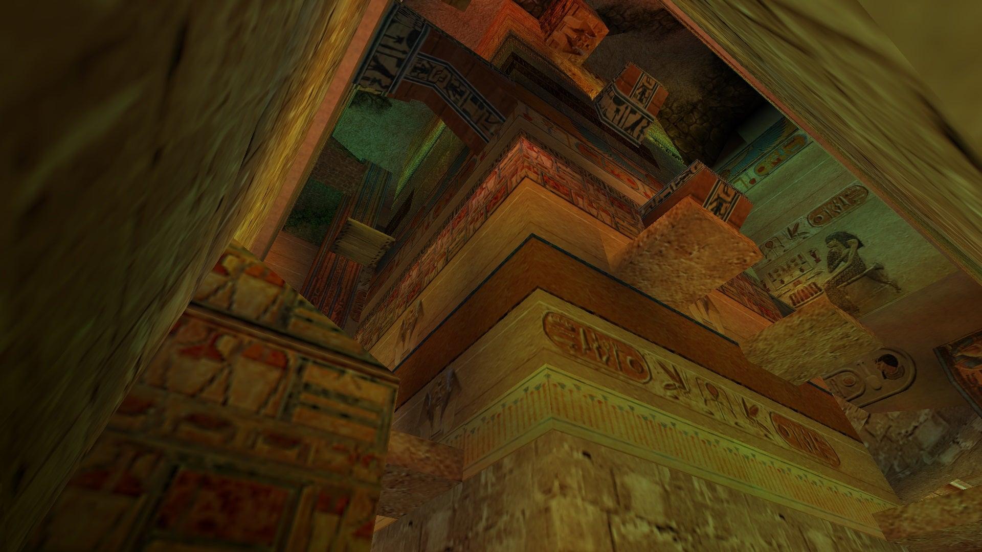 A screenshot from Tomb Raider Level Editor custom level The Unremarkable Egyptian Pillar