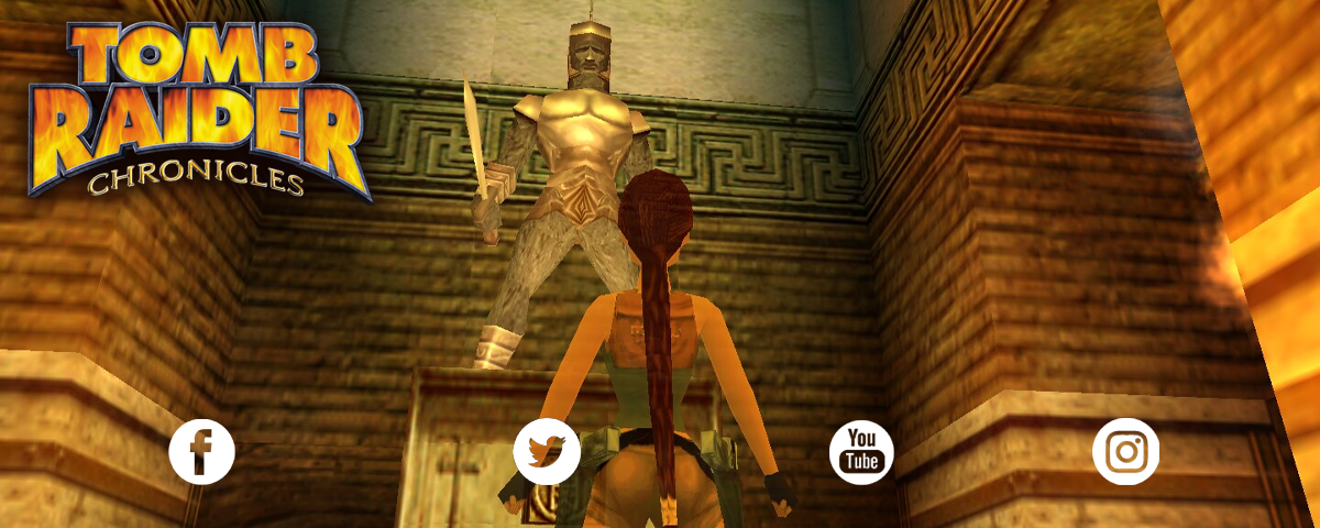 A streamer profile banner with a screenshot form Tomb Raider Chronicles and the logo. There are social media icons at the bottom