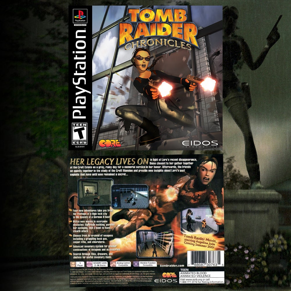 A collage of the US Box art for Tomb Raider Chronicles.