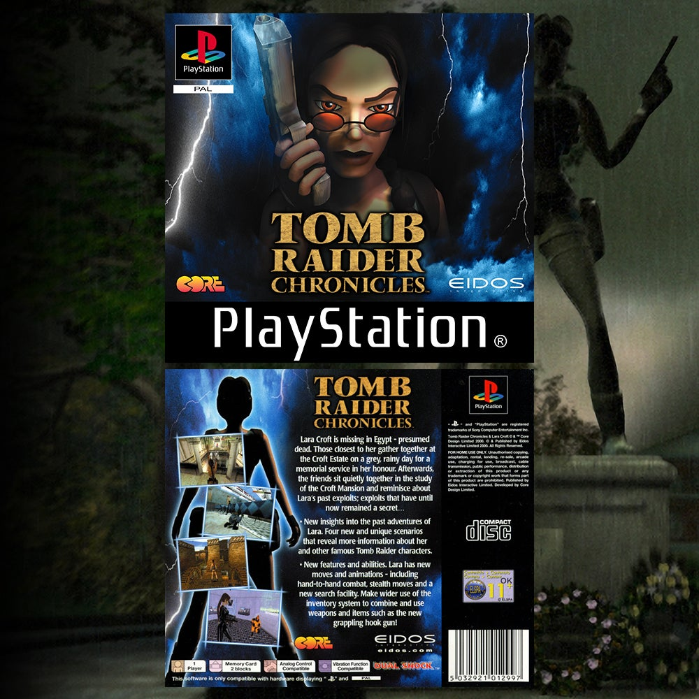 A collage of the EU Box art for Tomb Raider Chronicles.