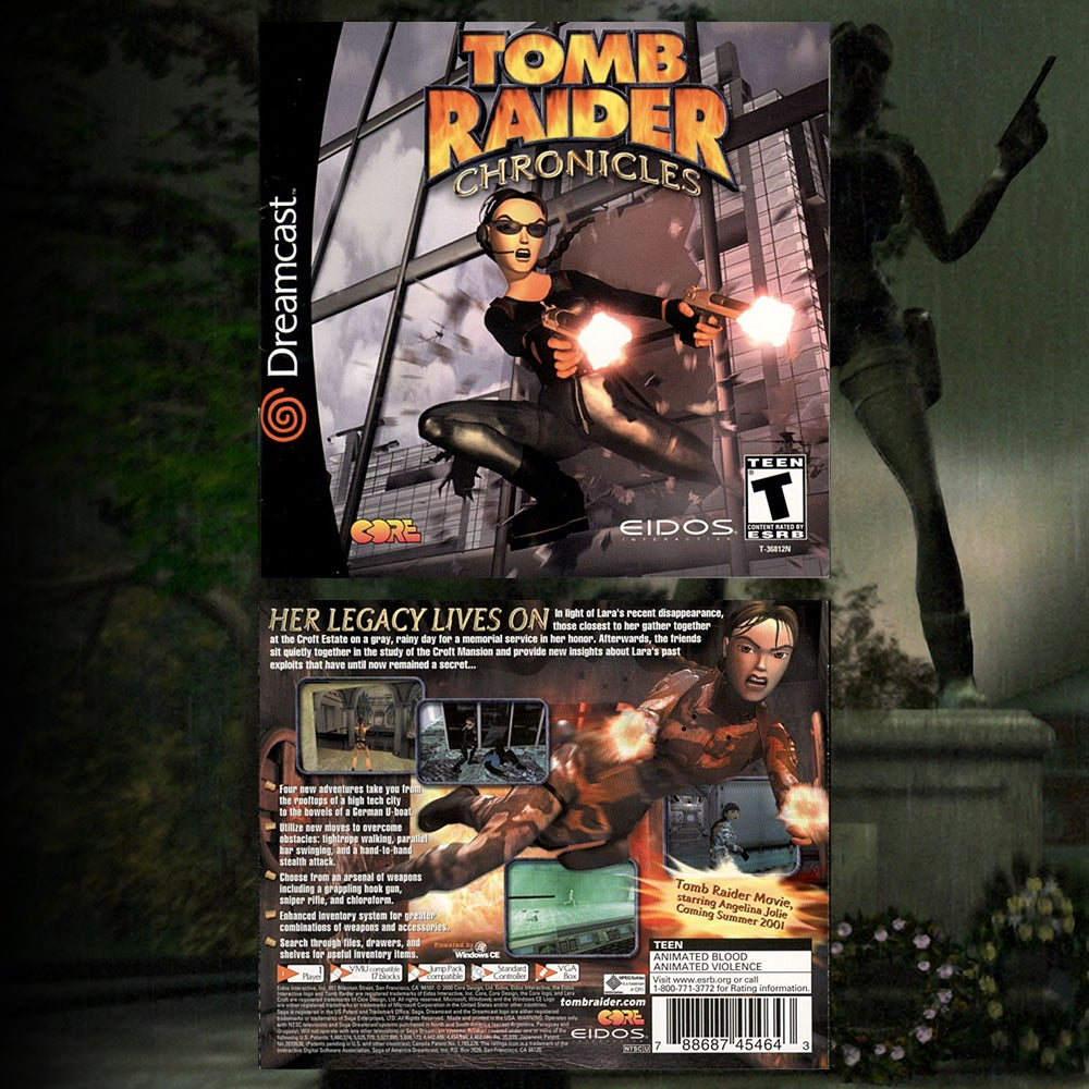 A collage of the US Dreamcast box art for Tomb Raider Chronicles.