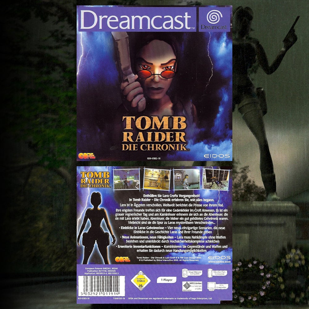 A collage of the German Box art for Tomb Raider Chronicles.