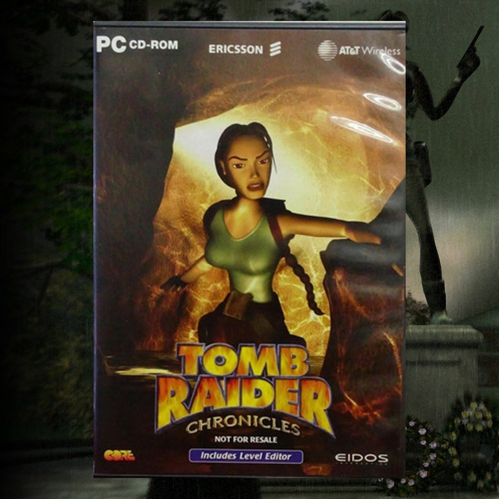 A collage of the Ericsson Promotional Box art for Tomb Raider Chronicles.