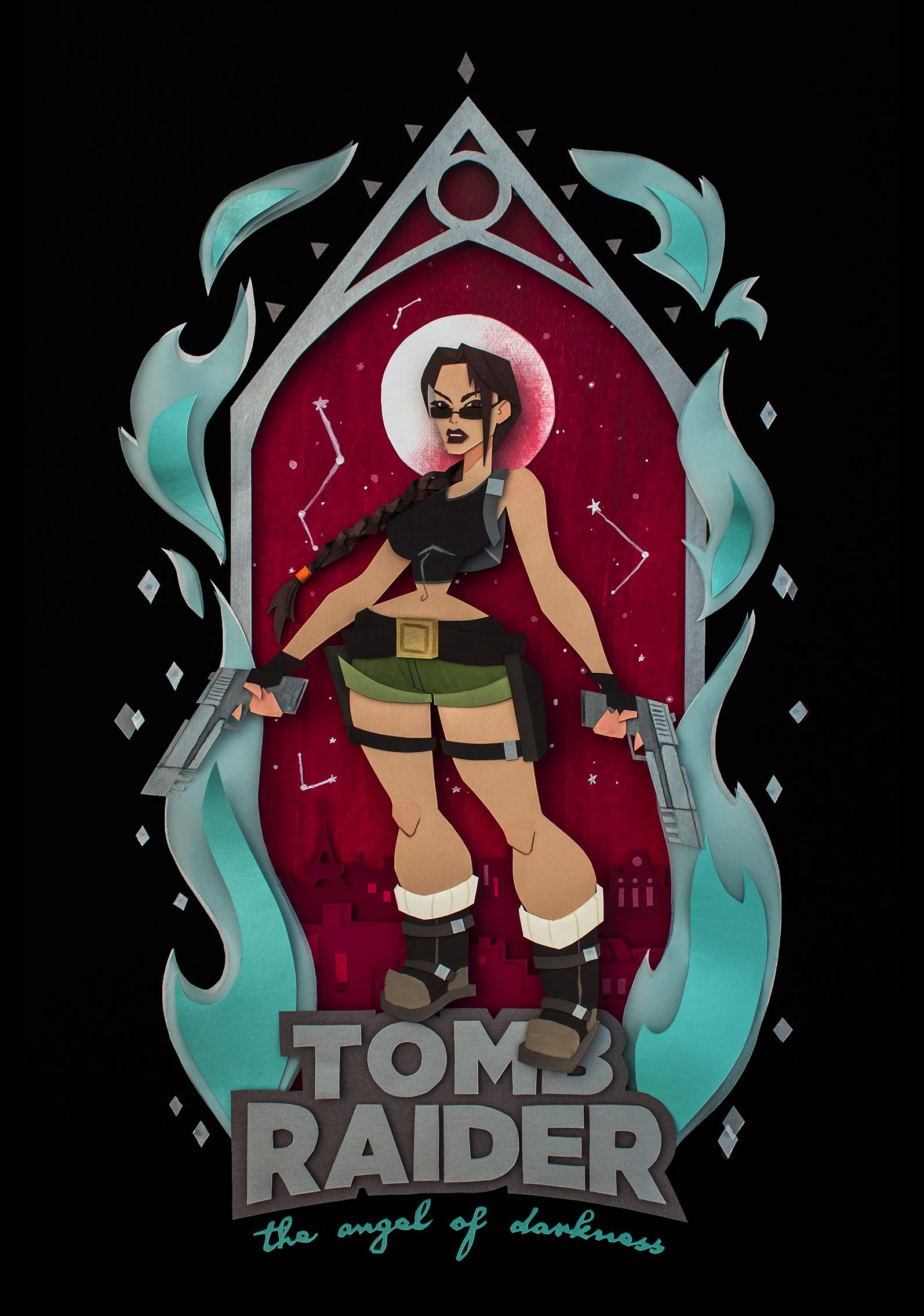"""An image of Lara croft standing under a gothic arch. Behind the arch is a vibrant red background featuring Paris' skyline. A brilliant white moon floats under the very top of the arch, just behind Lara's head, which gives her a divine-looking halo. Around the arch is blue flame reminiscent of the original Angel of Darkness box art. Lara is wearing a black crop top and green shorts, and stands on top of a logo that reads """"Tomb Raider: The Angel of Darkness. The entire piece of art is made of cut pieces of paper."""