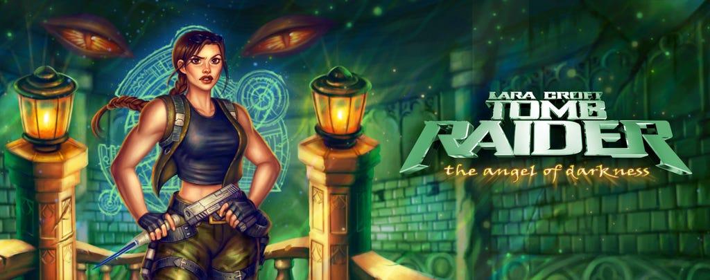 A banner version of Anastasia Ershova's box art reimagining for Tomb Raider: the Angel of Darkness