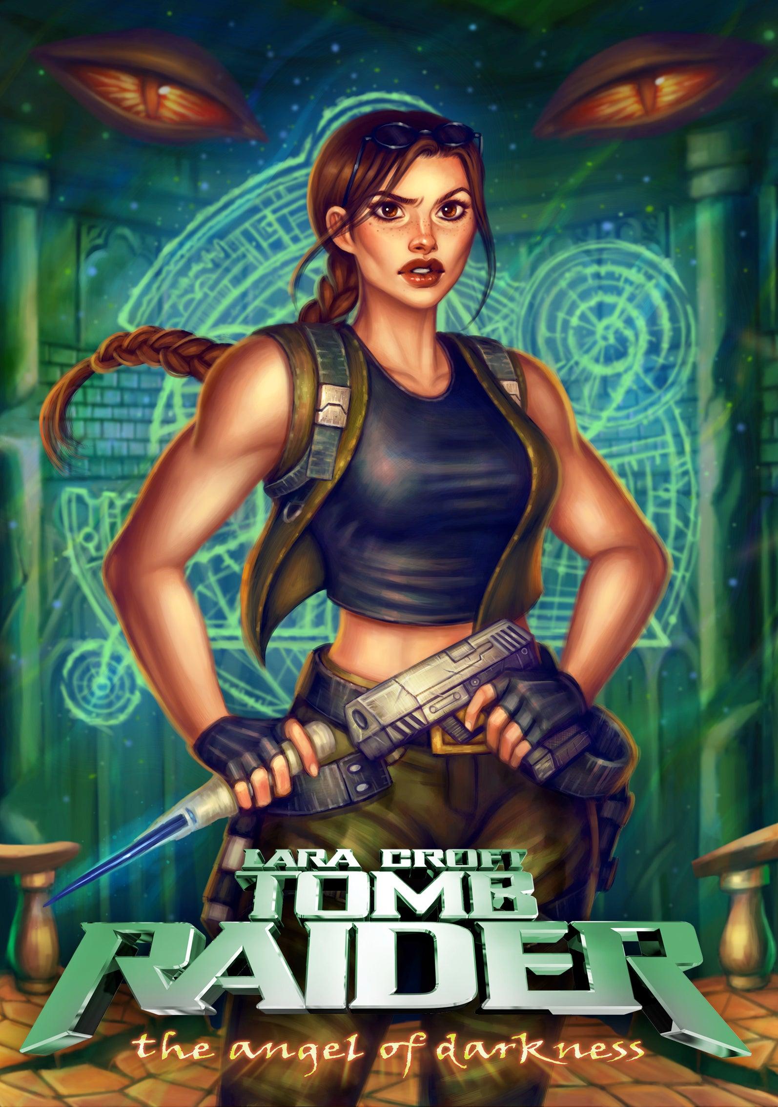 The full illustration of Anastasia Ershova's box art reimagining for Tomb Raider: the Angel of Darkness