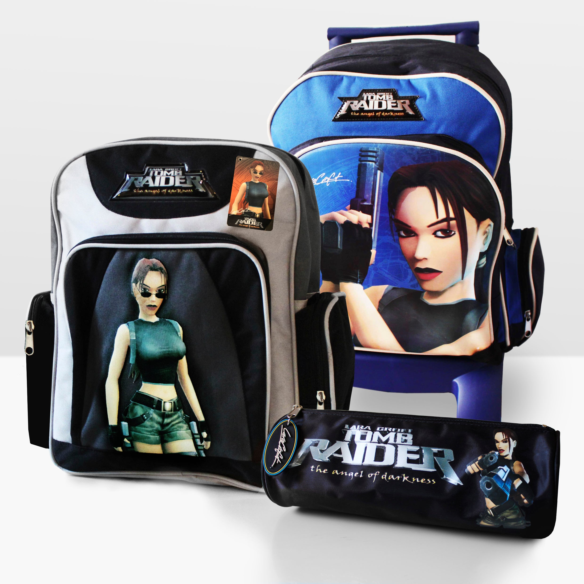 A picture of various Tomb Raider: The Angel of Darkness themed bookbags and bags from 2003