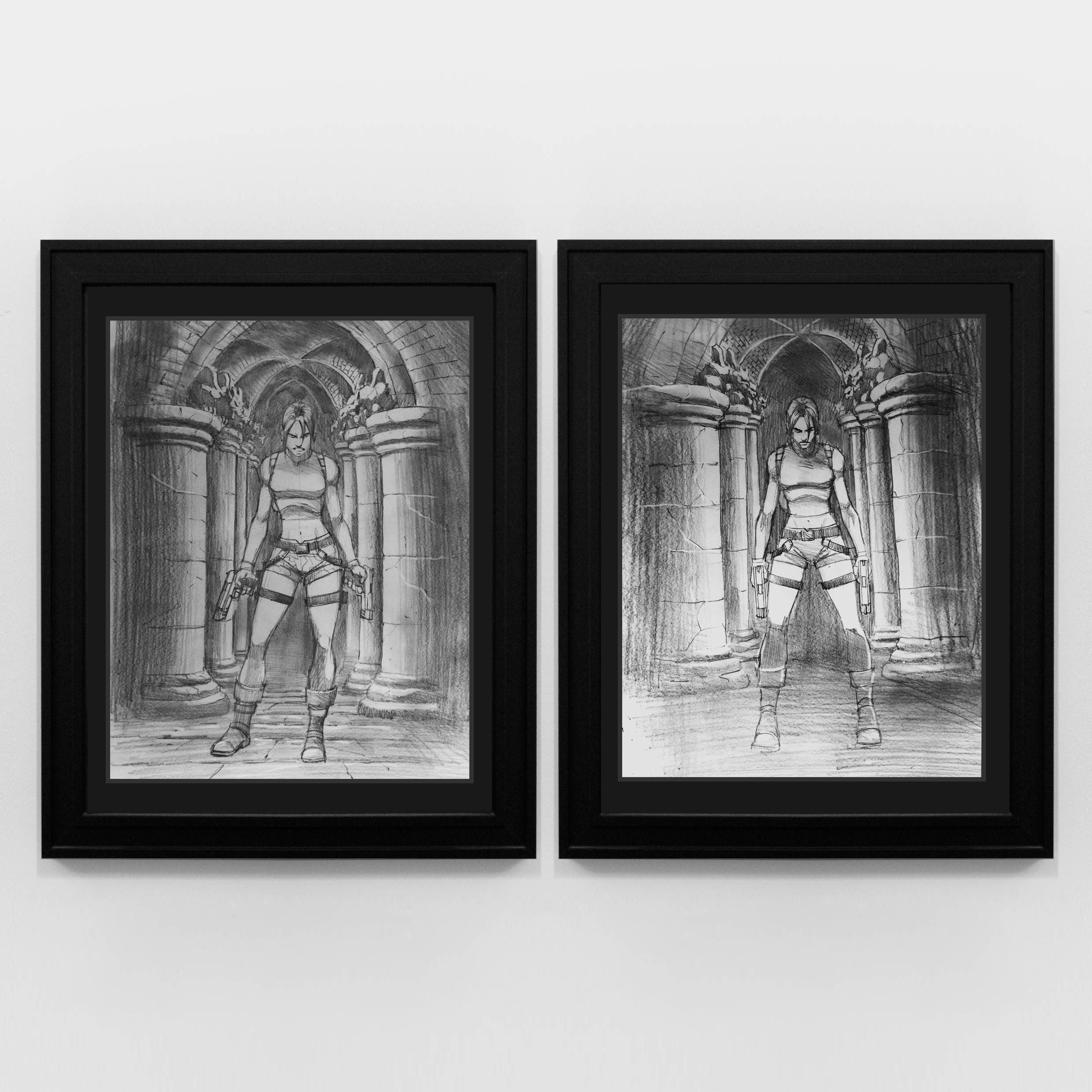 A picture of framed original artwork from Lara Croft Tomb Raider The Angel of Darkness by the artist Steve Beaumont