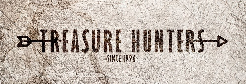 """A distressed style banner with text """"Treasure Hunters since 1996"""""""