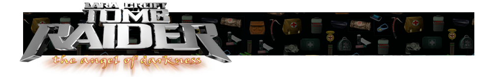 A banner with different gear icons from Tomb Raider games faded in the background. The Tomb Raider AOD logo is on the left.