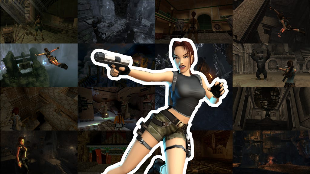 A graphic with a mosaic of faded screenshots in the background and a render of AOD Lara Croft in the center