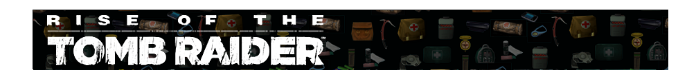 A banner with different gear icons from Tomb Raider games faded in the background. The Rise of the Tomb Raider logo is on the left.