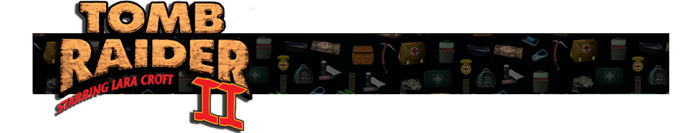 A banner with different gear icons from Tomb Raider games faded in the background. The Tomb Raider II logo is on the left.