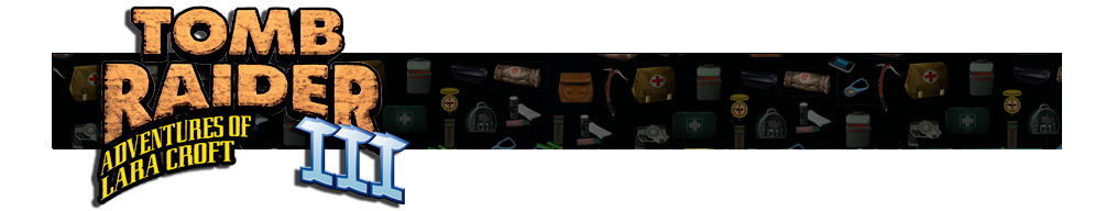 A banner with different gear icons from Tomb Raider games faded in the background. The Tomb Raider III logo is on the left.