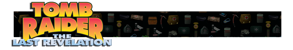 A banner with different gear icons from Tomb Raider games faded in the background. The Tomb Raider IV logo is on the left.