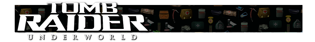 A banner with different gear icons from Tomb Raider games faded in the background. The Tomb Raider Underworld logo is on the left.