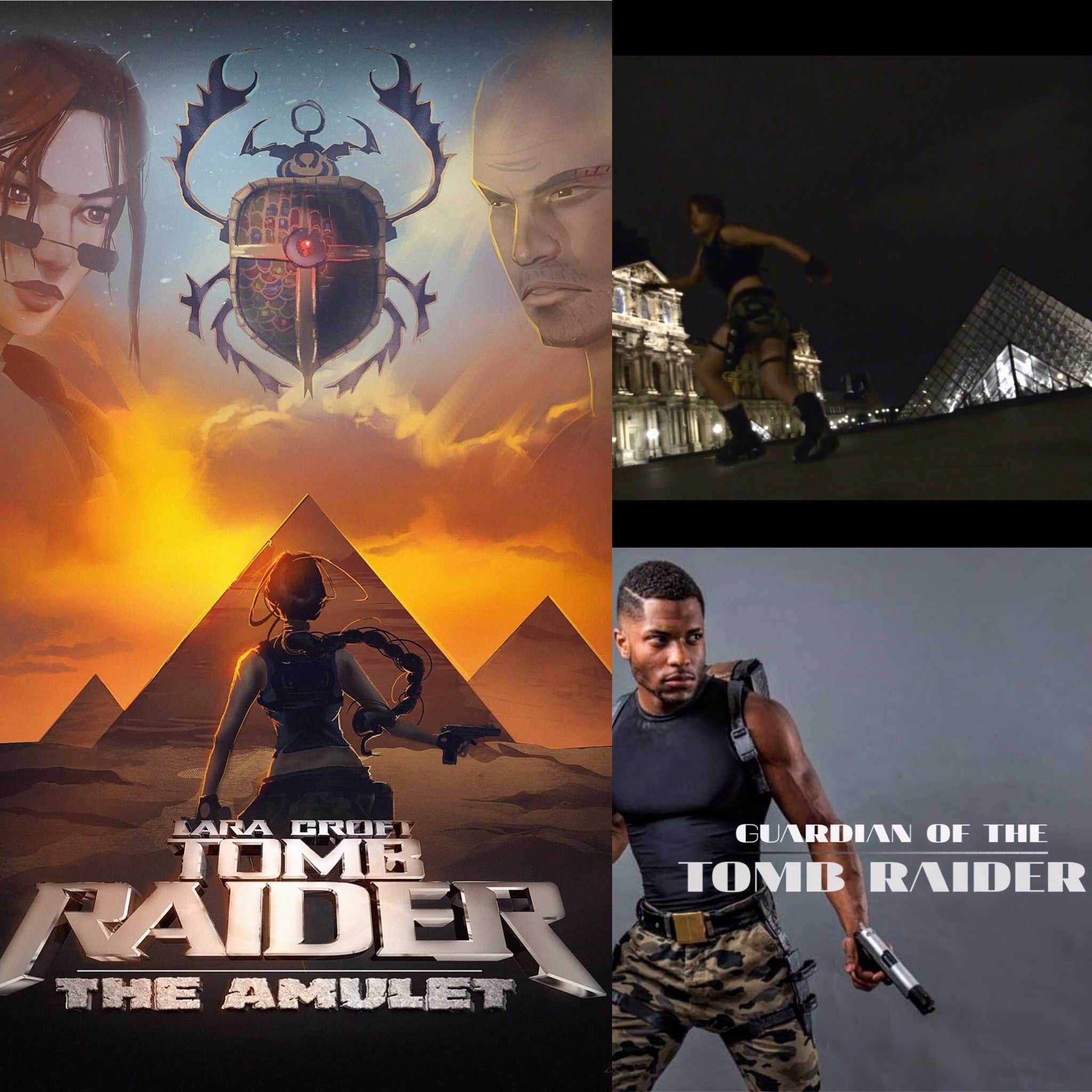 A collage of different Tomb Raider fan film movie posters